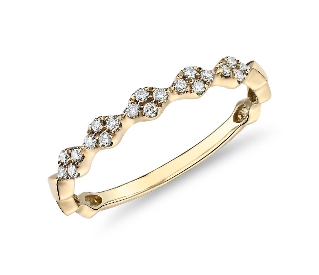Diamond Zig-Zag Stackable Fashion Ring in 14k Yellow Gold (0.14 ct. tw.)