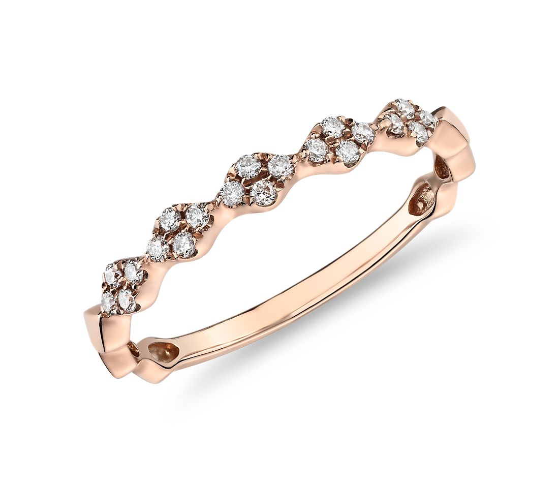 Diamond Zig-Zag Stackable Fashion Ring in 14k Rose Gold (0.14 ct. tw.)