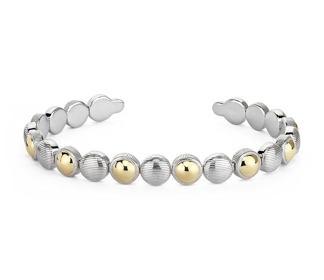 Two-Tone Wide Disc Cuff Bracelet in Sterling Silver and Yellow Gold Vermeil