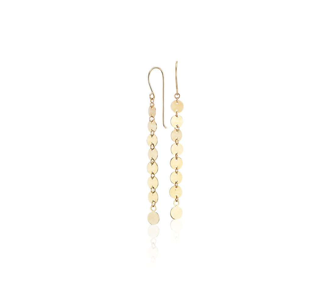 Disc Drop Earrings in 14k Yellow Gold
