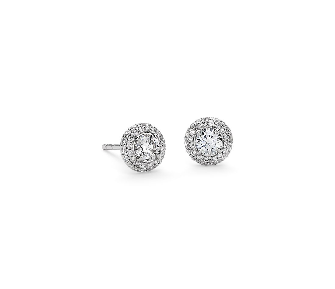 Domed Halo Diamond Stud Earrings In 18k White Gold 3 4 Ct Tw