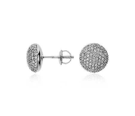 Blue Nile Mini Micropave Diamond Button Earrings in 14k White Gold (0.13 ct. tw.)