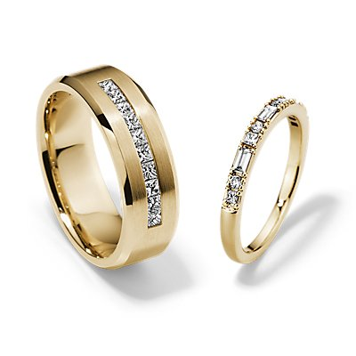 Dot Dash and Princess-Cut Channel-Set Diamond Set in 14k Yellow Gold