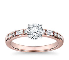 Dot Dash Diamond Engagement Ring in 14k Rose Gold (1/5 ct. tw.)