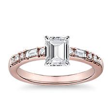 Anillo de compromiso de diamantes de punto y guión en oro rosado de 14k (0,23 qt. total)