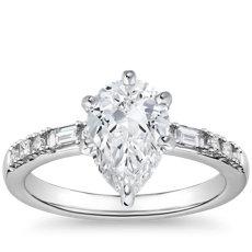 Dot Dash Diamond Engagement Ring in 14k White Gold (1/5 ct. tw.)