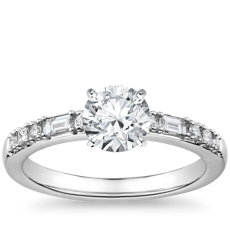 Dot Dash Diamond Engagement Ring in 14k White Gold (1/5 ct. tw.)