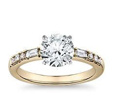 Dot Dash Diamond Engagement Ring in 14k Yellow Gold (1/5 ct. tw.)