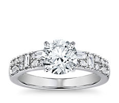 Dot Dash Double Row Diamond Engagement Ring in 14k White Gold