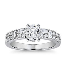 Dot Dash Double Row Diamond Engagement Ring in 14k White Gold