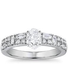 14k 白金圓點搭長條雙排鑽石訂婚戒指