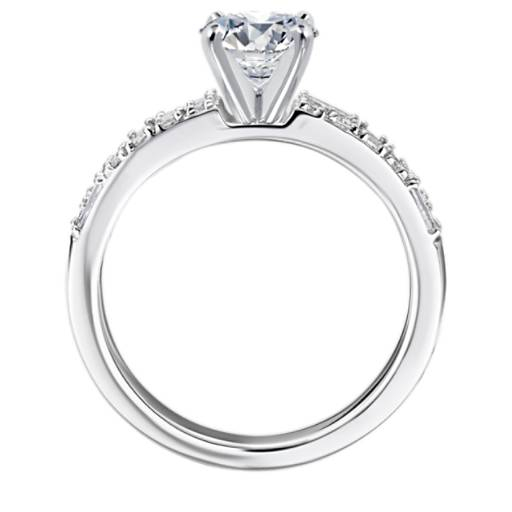 Dot Dash Double Row Diamond Engagement Ring