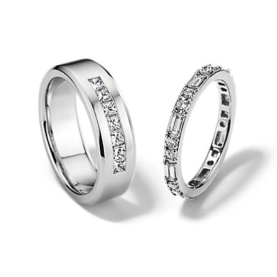 Dot Dash Eternity and Princess-Cut Channel-Set Diamond Set in 14k White Gold