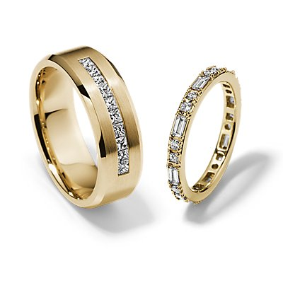 Dot Dash Eternity and Princess-Cut Channel-Set Diamond Set in 14k Yellow Gold