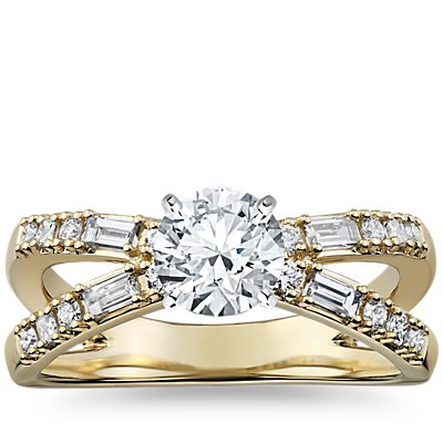 Dot Dash Split Shank Diamond Engagement Ring in 14k Yellow Gold