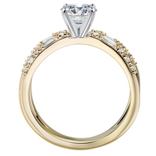 Dot Dash Split Shank Diamond Engagement Ring