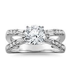 Dot Dash Split Shank Diamond Engagement Ring in 14k White Gold
