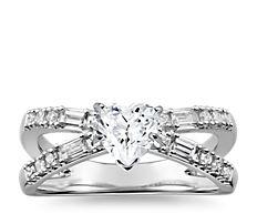 Bague de fiançailles diamant traits et points montée sur un cercle fendu en or blanc 14carats