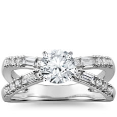 Dot Dash Split Shank Diamond Engagement Ring in 14k White Gold