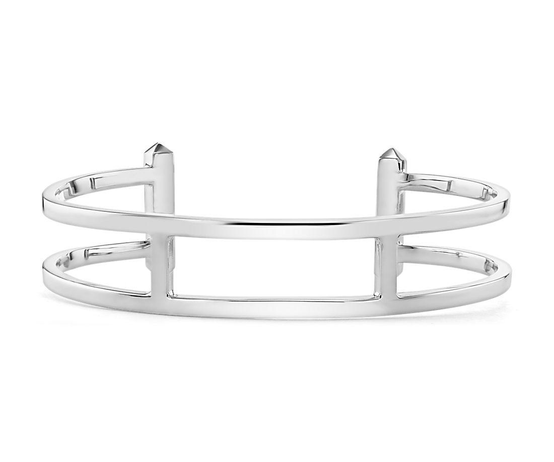 Double Bar Cuff Bracelet in Sterling Silver