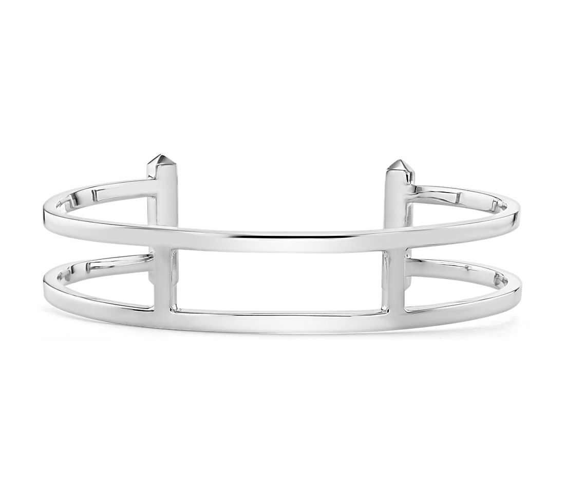 Double Bar Cuff Bracelet in Sterling Silver