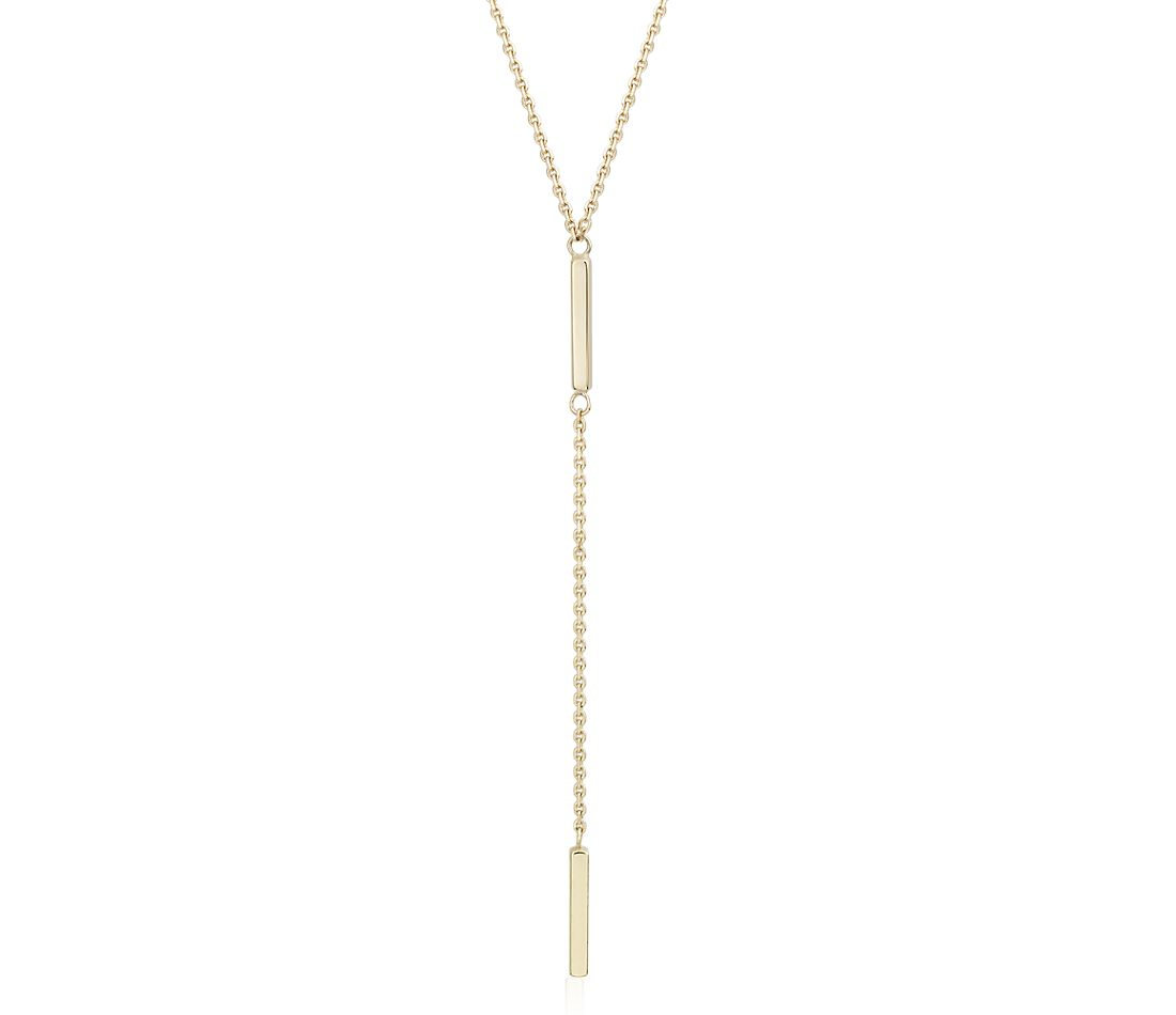 Double Bar Lariat Y-Necklace in 14k Yellow Gold