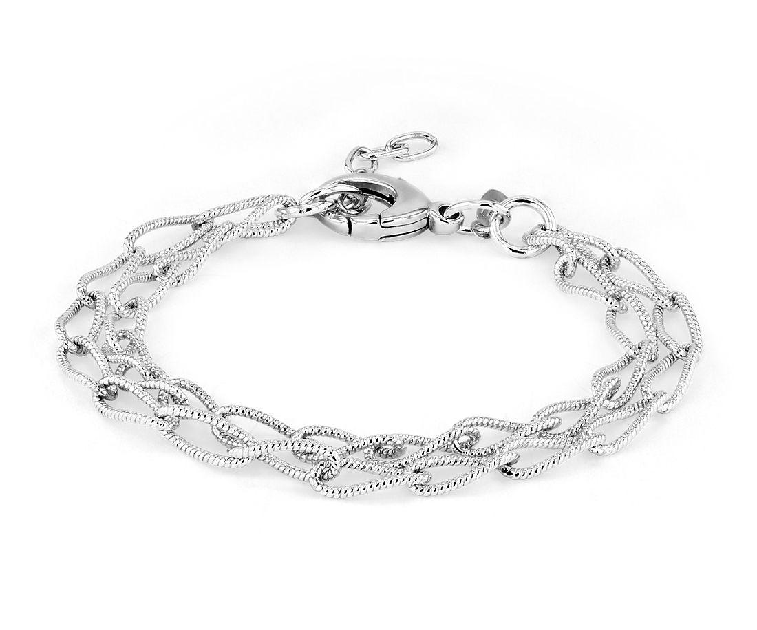 925 纯银双链型纹理锁链式手链