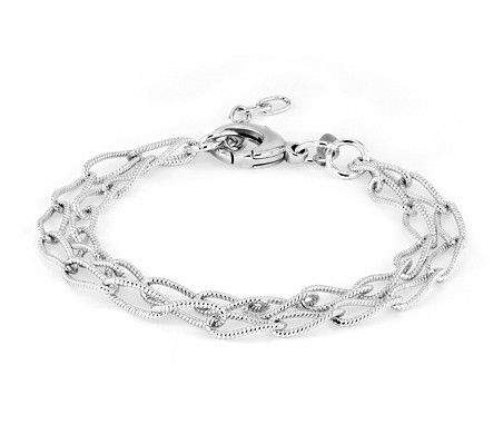 Double Chain Patterned Curb Bracelet in Sterling Silver