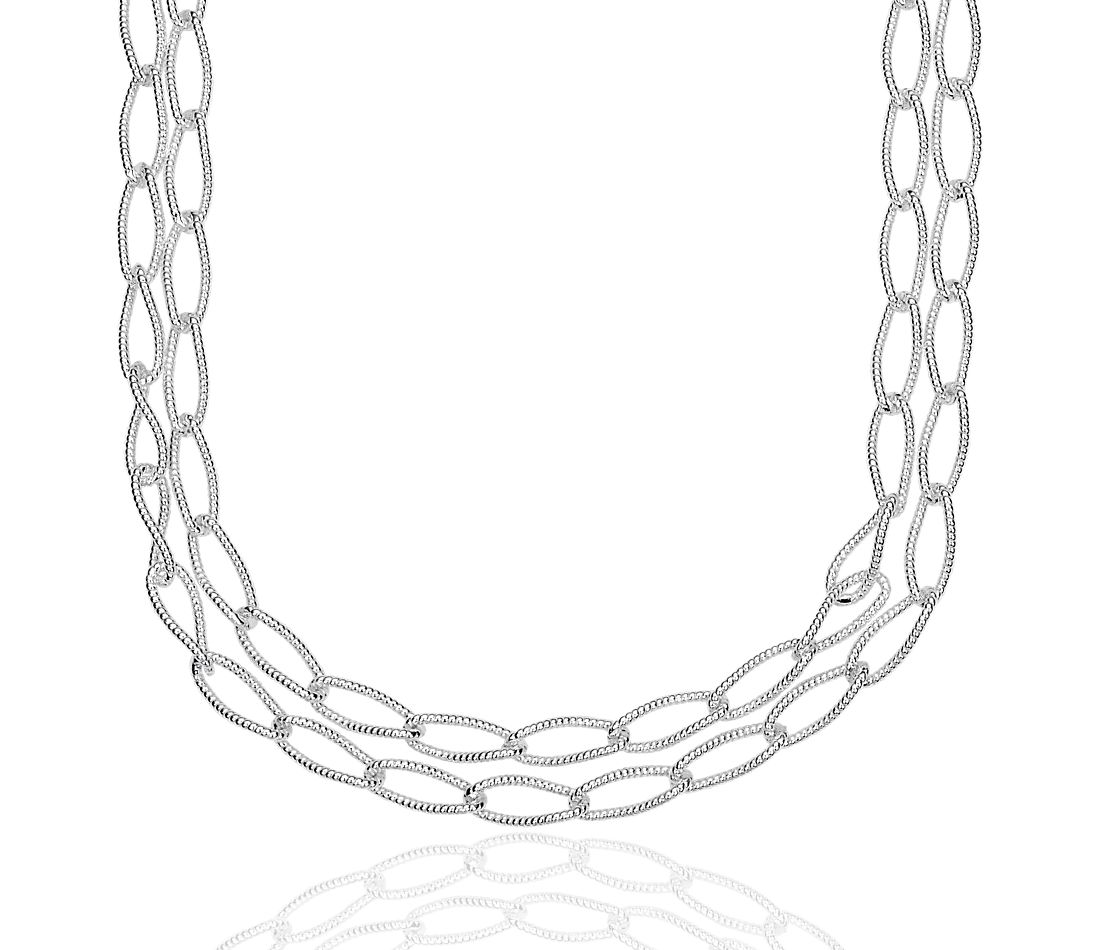 Double Chain Patterned Curb Necklace in Sterling Silver