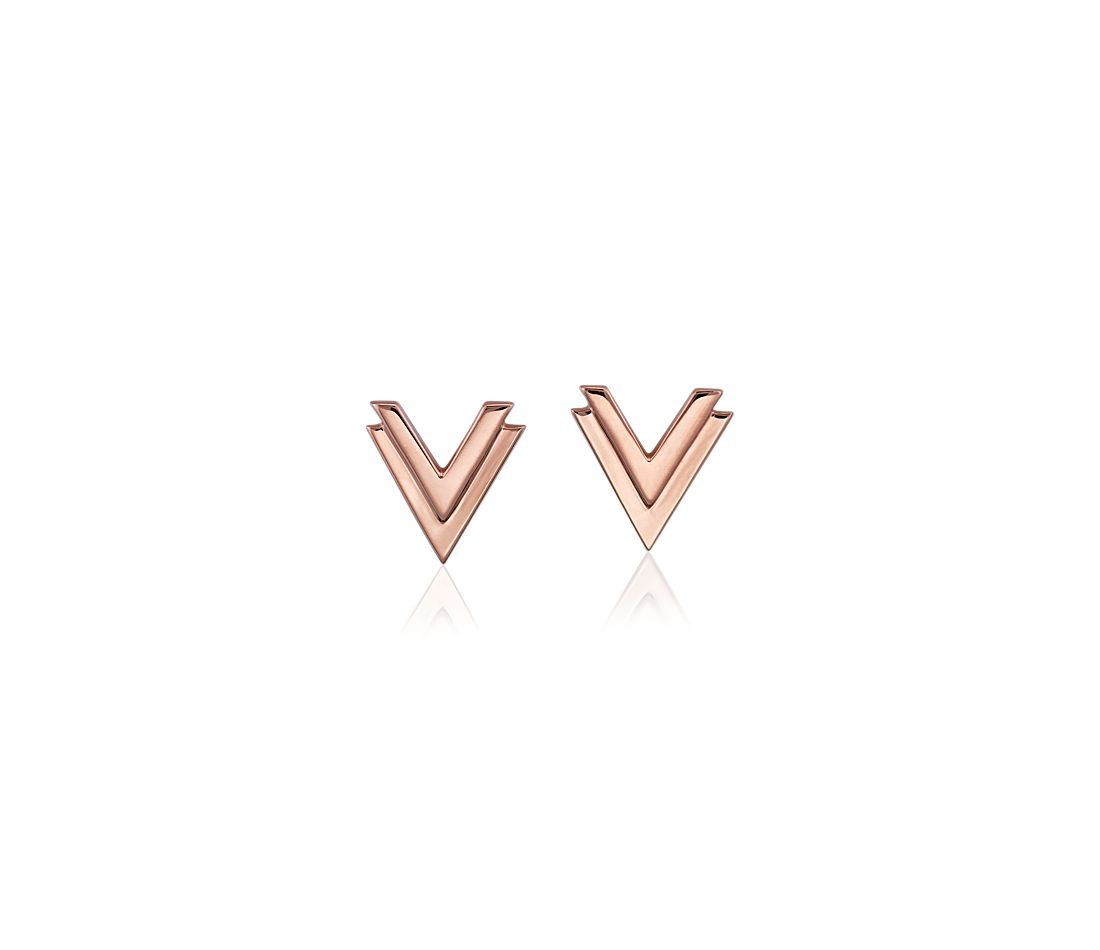 Double Chevron Earrings in 14k Rose Gold