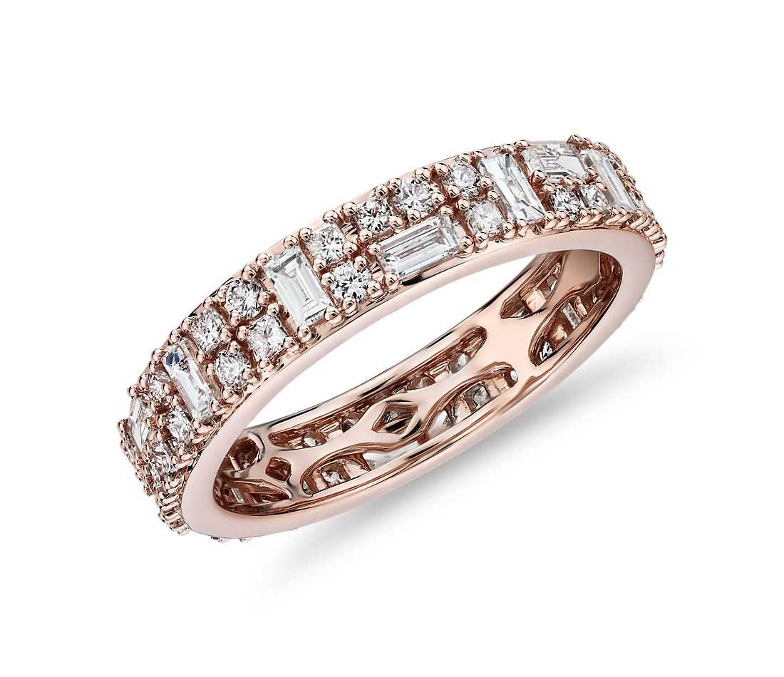 Double Dot Dash Diamond Eternity Ring in 14k Rose Gold (1 1/3 cttw)