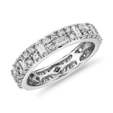NEW Double Dot Dash Diamond Eternity Ring in 14k White Gold (1.33 ct. tw.)