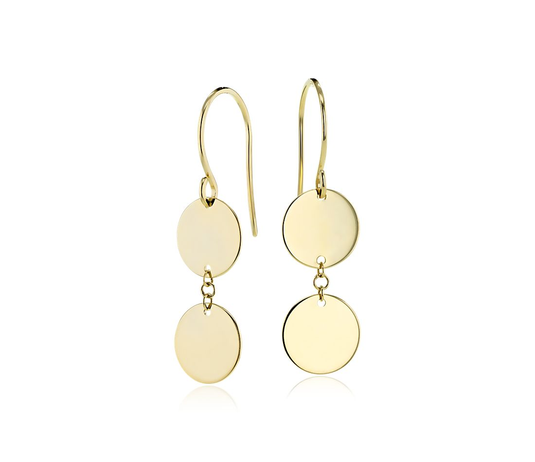 Double Disc Drop Earrings in 14k Yellow Gold