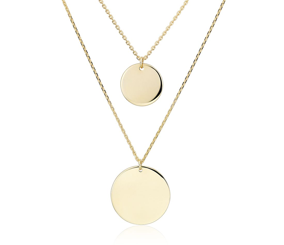 Double Disc Layered Necklace in 14k Yellow Gold