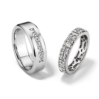 Double Dot Dash Eternity and Princess-Cut Channel-Set Diamond Set in 14k White Gold