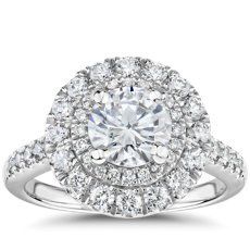 Double Halo Diamond Engagement Ring in 14k White Gold