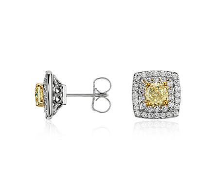 Light Fancy Yellow Diamond Stud Double Halo Earrings in