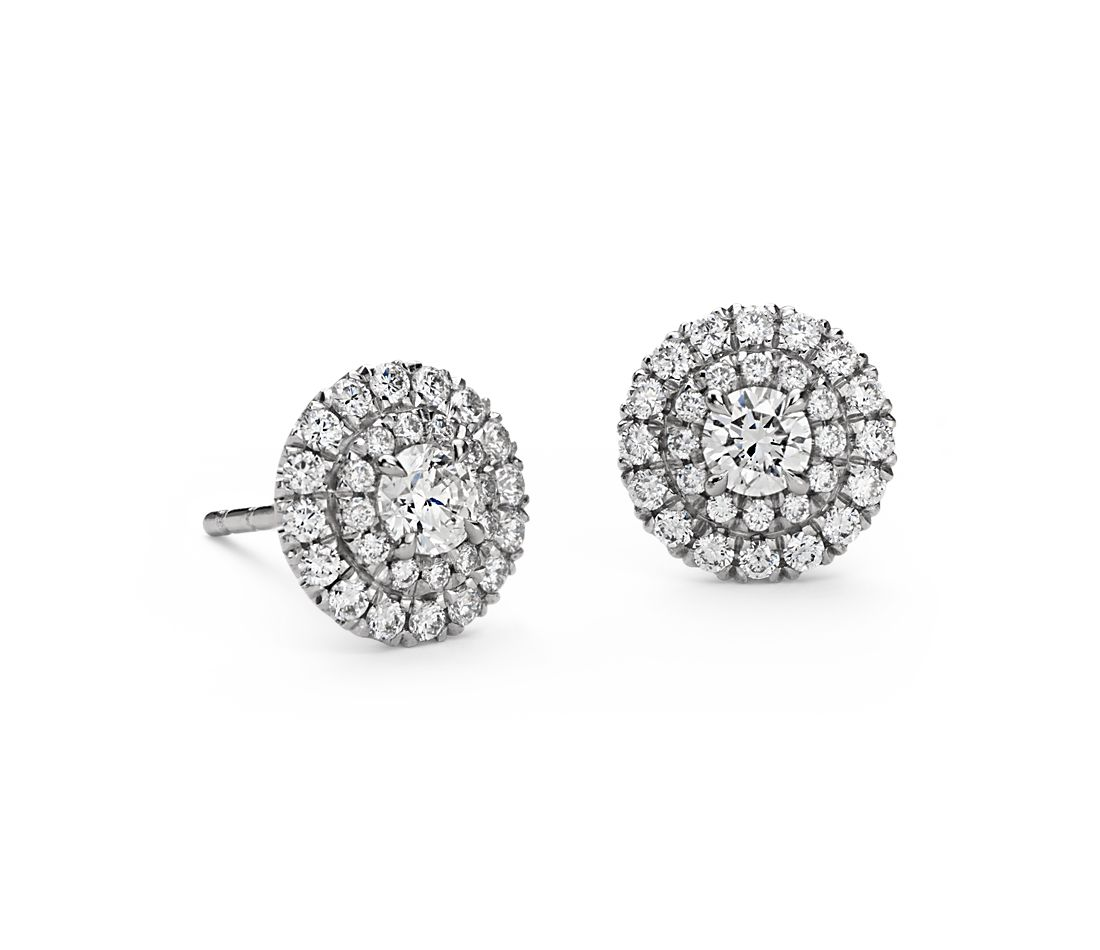 Double Halo Diamond Stud Earrings In 18k White Gold 3 4 Ct Tw