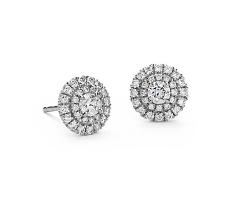 Double Halo Diamond Stud Earrings in 18k White Gold (3/4 ct. tw.)