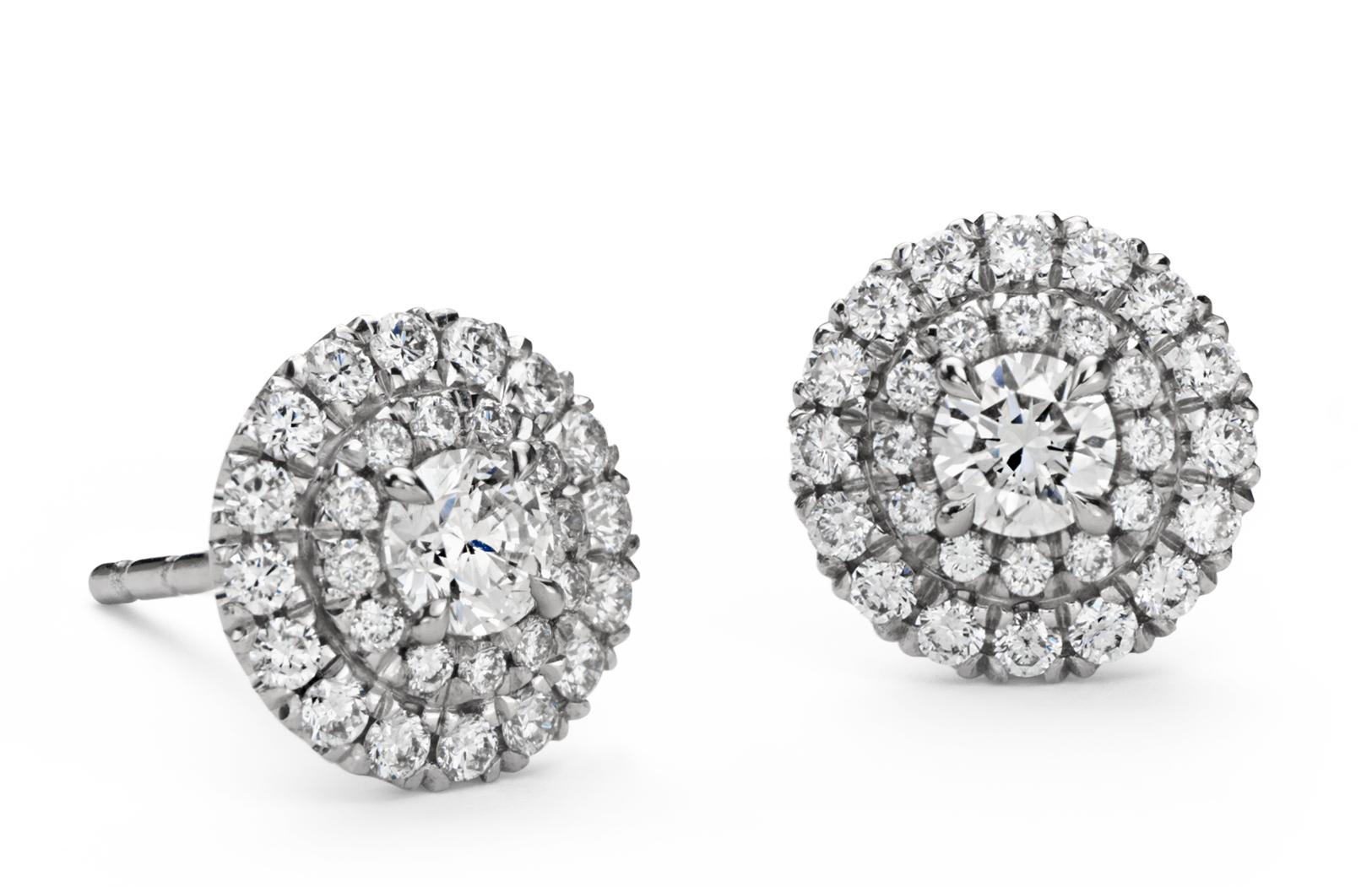 Puces d'oreilles double halo de diamants en or blanc 18carats (3/4carat, poids total)