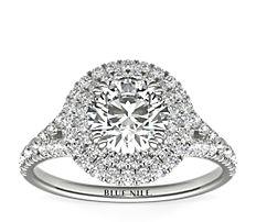18k 白金椭圆光环钻石订婚戒指<br>(1/2 克拉总重量)