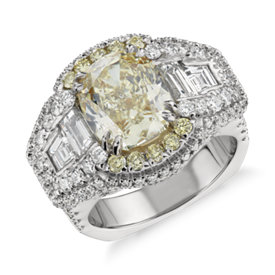 Bella Vaughan for Blue Nile Soleil Fancy Yellow Cushion-Cut Diamond Engagement Ring in Platinum (6.94 ct. tw.)