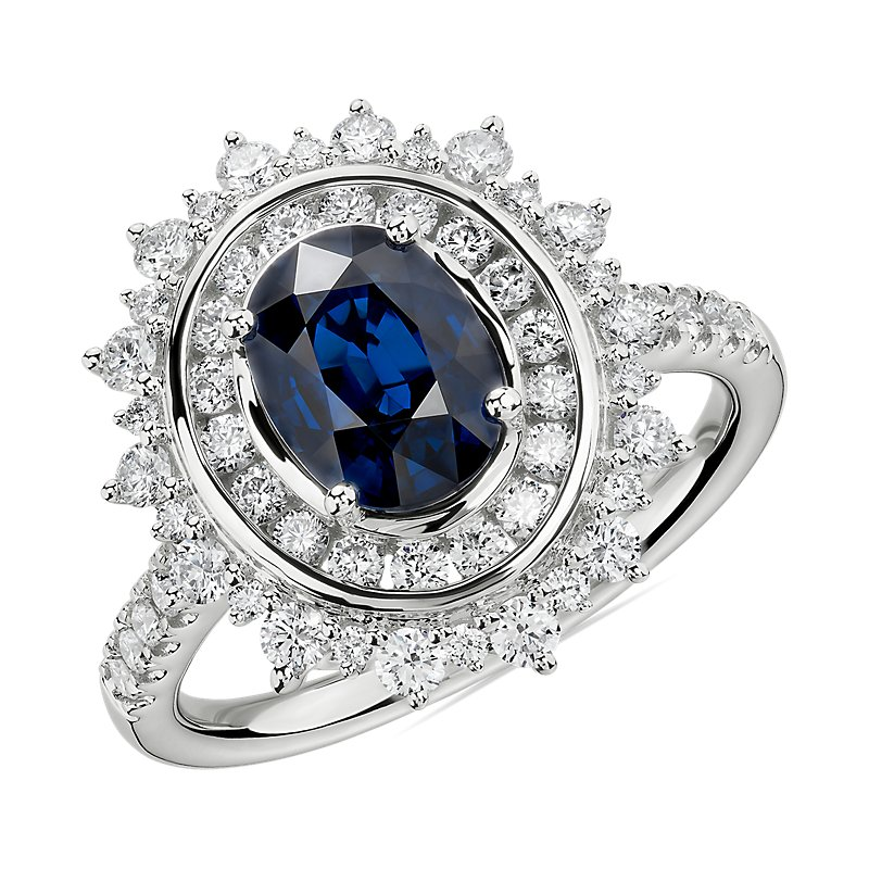Oval Sapphire Ring with Double Diamond Sunburst Halo in 14k White