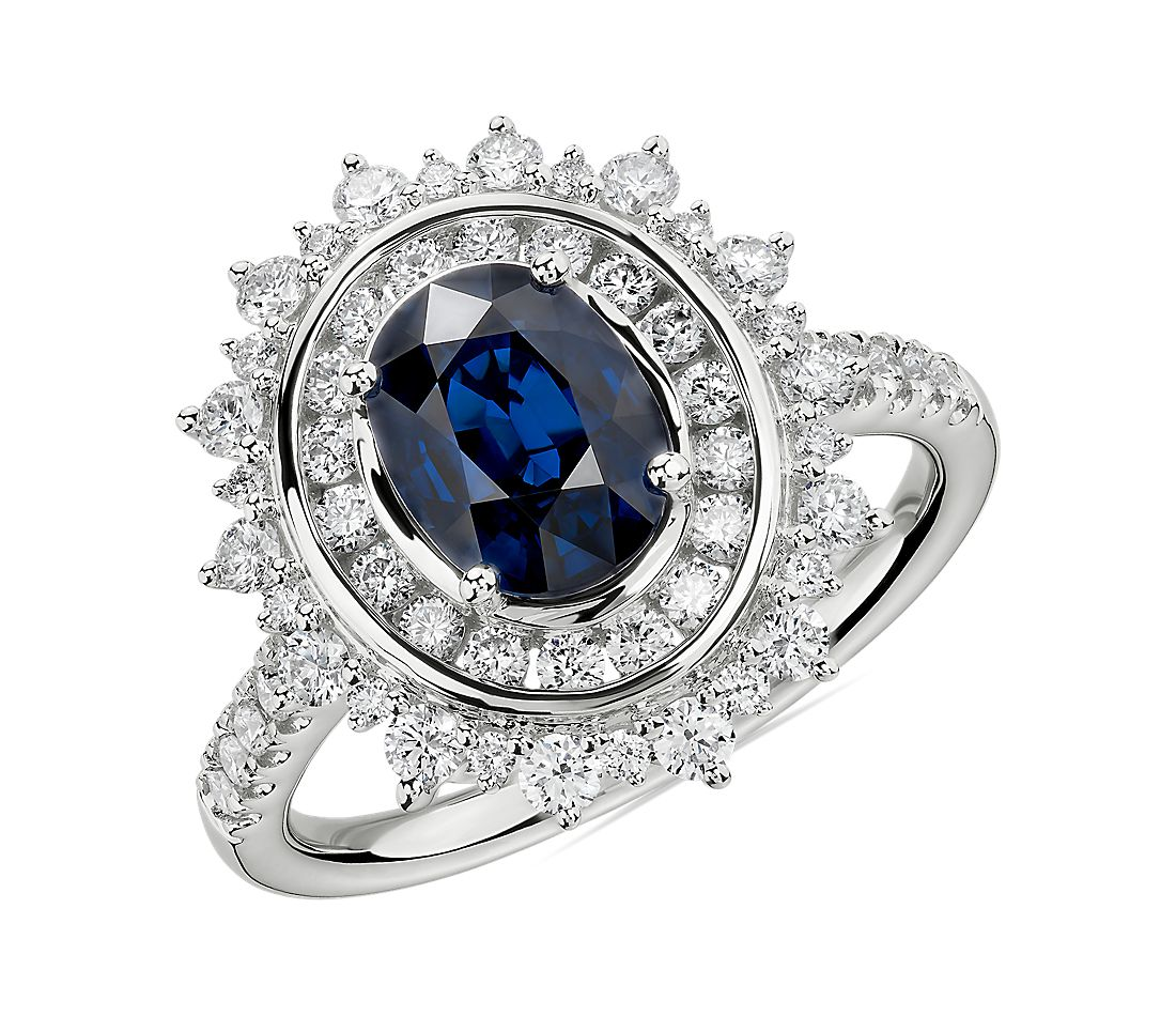 Oval Sapphire Ring with Double Diamond Sunburst Halo in 14k White Gold