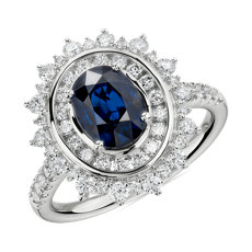 NEW Oval Sapphire Ring with Double Diamond Sunburst Halo in 14k White Gold