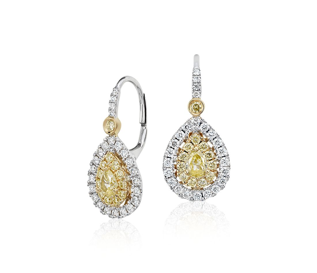 Pear Shaped Yellow Diamond Double Halo Drop Earrings In 18k White And Gold