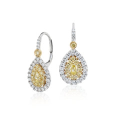 Pear-Shaped Yellow Diamond Double Halo Drop Earrings in 18k White and Yellow Gold (1.25 ct. tw.)