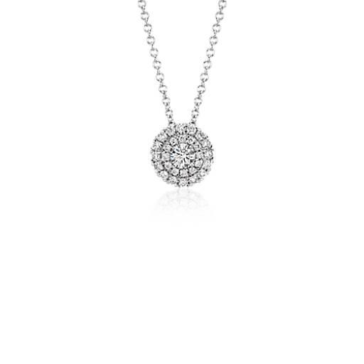 Double halo round diamond pendant in 18k white gold 25 ct tw double halo round diamond pendant in 18k white gold 25 ct tw blue nile aloadofball Gallery