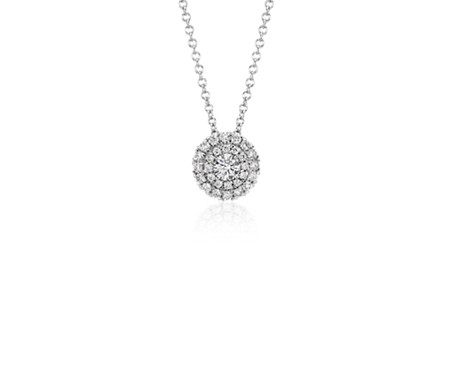 Double Halo Round Diamond Pendant in 18k White Gold (2/5 ct. tw.)