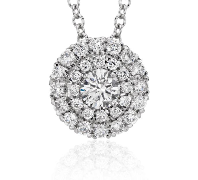 Colgante con doble halo de diamantes redondos en oro blanco de 18 k (2/5 qt. total)